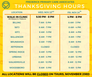 Thanksgiving Hours - Frederick Primary Care Associates ...