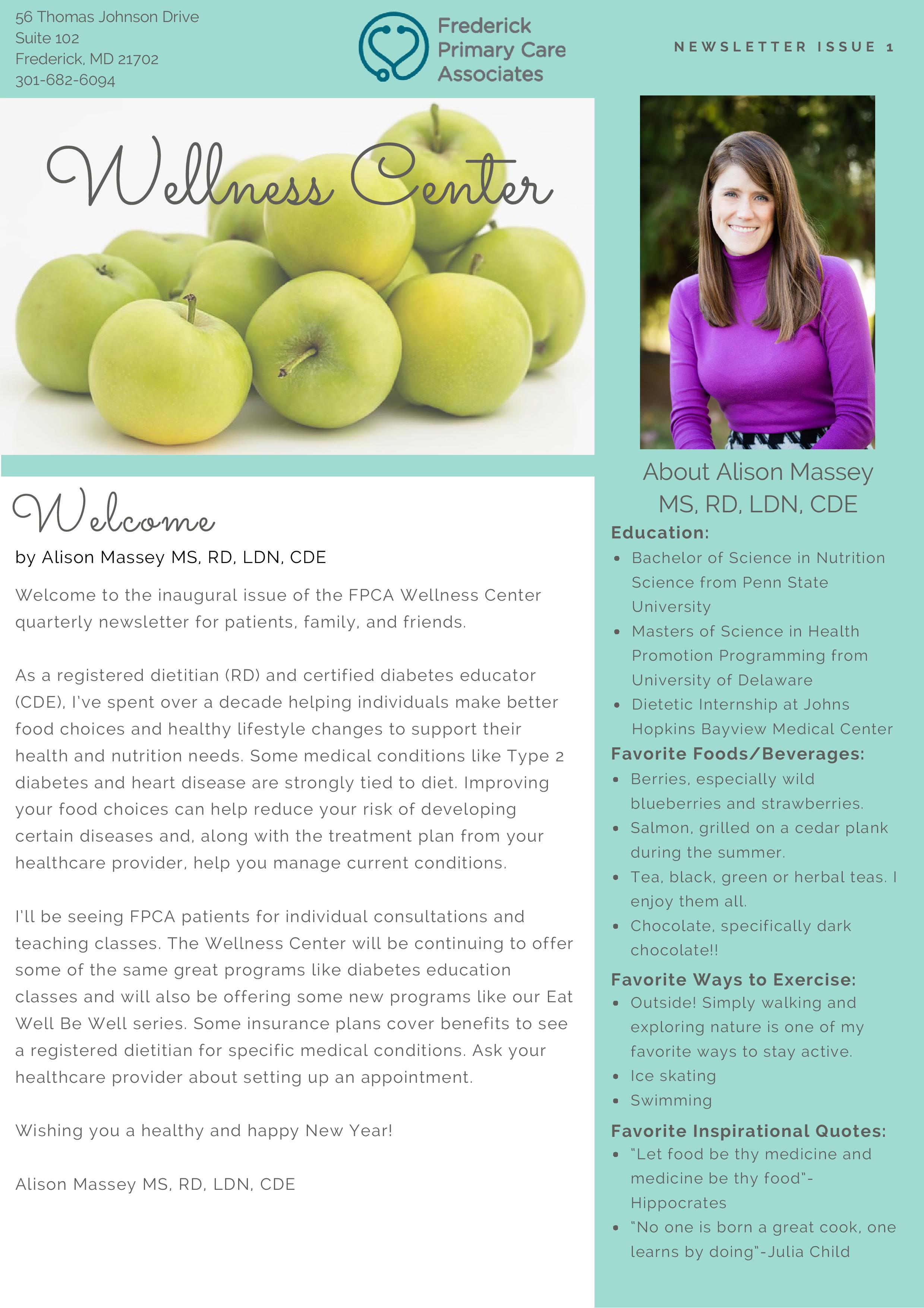 Wellness Newsletter 1 Page 1 - Frederick Primary Care ...